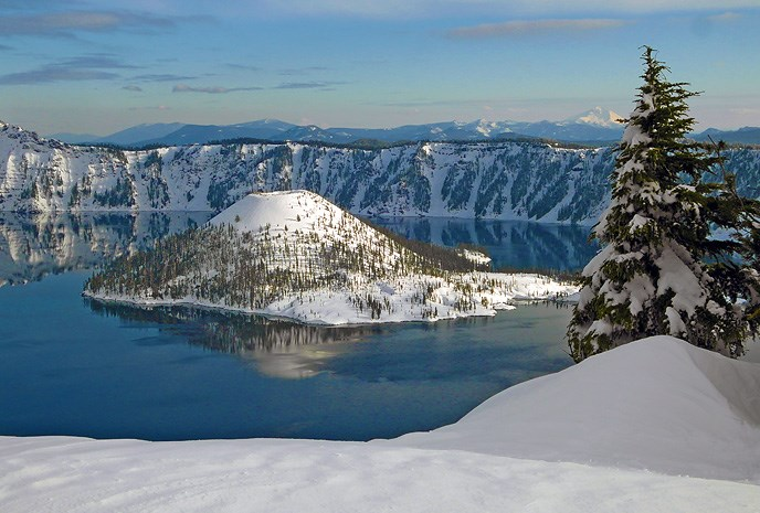 Crater Lake in the winter with snow covering the mountains