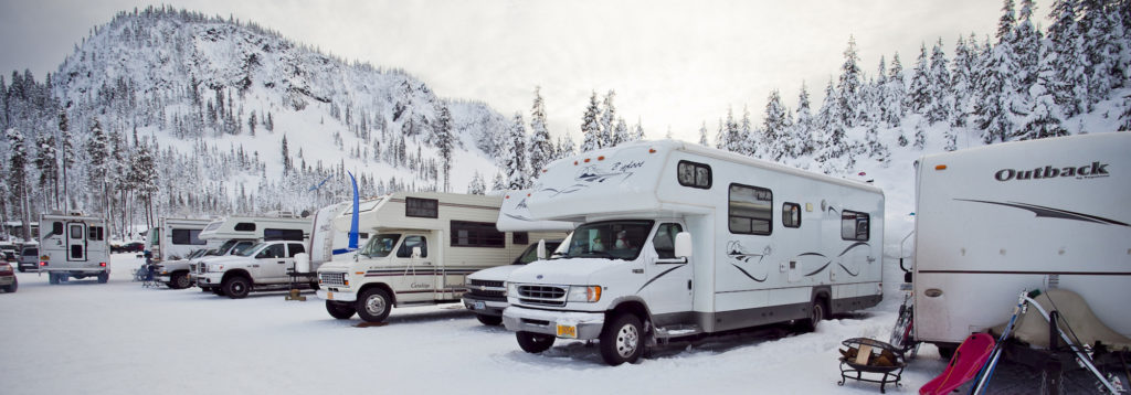 RVs camping in the snow